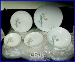 Vintage 40-Piece Noritake China Dish Set Oriental 6341 Bamboo Pattern EXC