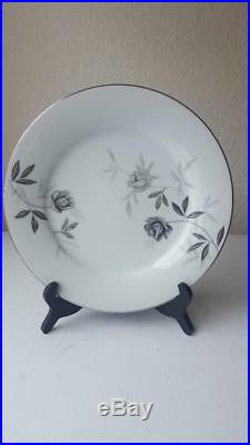 Vintage 46 Piece Noritake China Rosamor #5851 Silver Edge Dinnerware Set