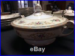 Vintage 71 piece Noritake Colby China Set Blue Edge 5032 Very Nice