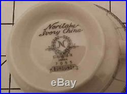 Vintage 92 Pc. Noritake Ivory China Dinner Set 7055 Burgundy