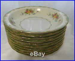 Vintage NORITAKE CHINA Set of 10 RIM SOUP BOWLS Green, Cream, Floral, Gold Trim