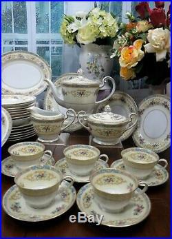 Vintage Noritake 5032 blue Colby porcelain China Dinner and tea Set service