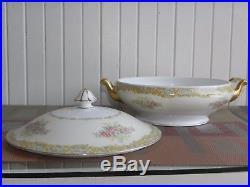 Vintage Noritake 88 Piece Japan China Dinnerware Set Blue Pink Flowers Gold Rim