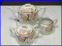 Vintage Noritake Azalea Pattern China Teapot Sugar Bowl Creamer Trivet Set Japan