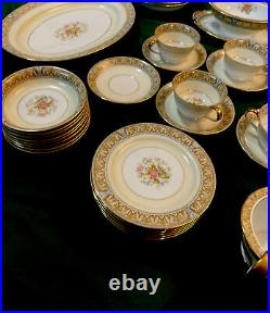 Vintage Noritake CLAIRE Floral #657 Gold Trim Tan/Blue China Mint 59 Piece Set