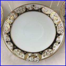 Vintage Noritake China 20056 Black Gold Christmas Ball Tea Cup Saucer Set 24 pc