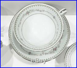 Vintage Noritake Fairmont 6102 Platinum Trim China Set 44 Piece 8 Place Setting