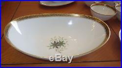 Vintage Noritake Fine China Dinnerware Set 5592 Green Floral Blk Laurel Gold 93p