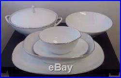 Vintage Noritake Fremont China Dinnerware Set Service For 10 White Silver Trim