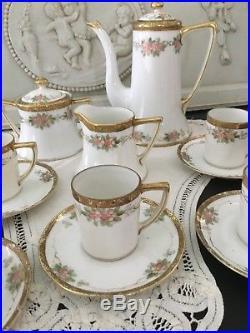 Vintage Noritake Gilded Floral Bone China Coffee Set