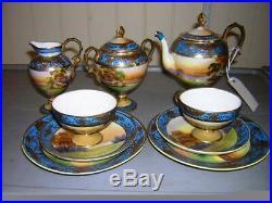 Vintage Noritake Hand Painted China Blue Lakeside Swans Tea Set 9 PC