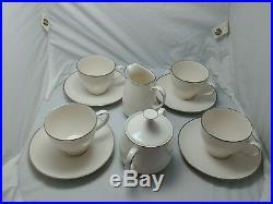 Vintage Noritake Ivory China Tea Set White With Silver Trim candlelight