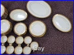Vintage Noritake Japan China 77 Piece set 5675 Golkin Floral Trim Gold-Black