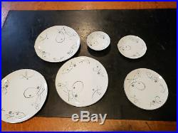 Vintage Noritake Mid Century China Set Desiree Pattern 65 Pieces Silver Rims