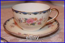 Vintage Noritake N3157 86 Piece China Set Great Condition Floral Blue &Gold Trim