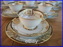 Vintage Noritake Porcelain China Tea Set Embossed Gold Gilding Flowers 35pcs
