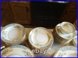 Vintage Stunning Noritake Cerulean Gold Blue Floral 91 Pc. Dinnerware China Set