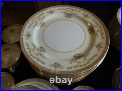 Vtg Noritake 4908 Eire Gold Trim Green Floral Fine China 81 Pc. Dinnerware Set