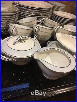 Vtg Service for 12 NORITAKE MAVIS Blue & Silver China/Set of 78 Pcs