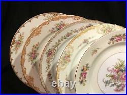 Vtg set of 10 Mismatched Fine China Dinner Plates Japan Floral Banded (Private)